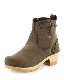 Water-Repellant Nubuck Buckled Clog Bootie