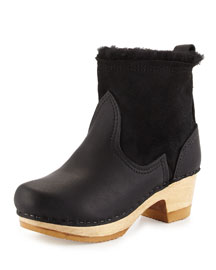 Water-Repellant Shearling & Leather Clog Bootie