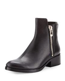 Alexa Zip Leather Ankle Bootie, Black