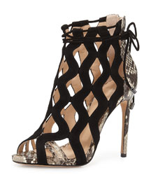 Loretta Python & Suede Cutout Sandal