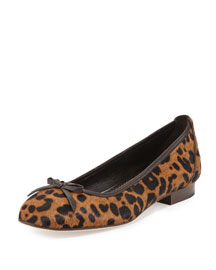 Prep Leopard-Print Calf Hair Ballerina Flat
