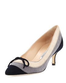 Sfida Colorblock Suede Pump, Gray/Beige/Navy