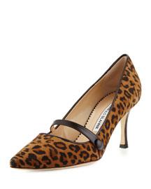 Mladar Suede Mary Jane Pump, Leopard