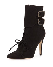 Secunda Buckled Suede Lace-Up Bootie