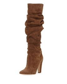 Artemis Slouchy Suede Tall Boot, Beige