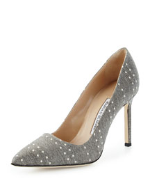 BB 105mm Woven Polka-Dot Pump, Gray/White