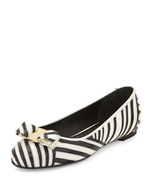 Varina Striped Bow Ballerina Flat, Black