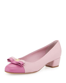 Vara Cap-Toe Leather Low-Heel Pump, Pink