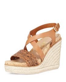 Gioela Laser-Cut Leather Wedge Espadrille Sandal, Brown