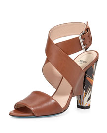 Bird of Paradise Leather Sandal, Brown