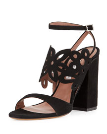 Emi Floral Laser-Cut Suede Sandal, Black