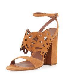 Emi Floral Laser-Cut Suede Sandal, Camel