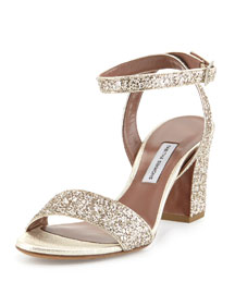 Leticia Glittered Block-Heel Sandal, Champagne