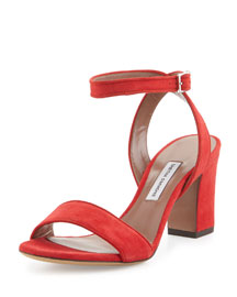 Leticia Suede Block-Heel Sandal, Red