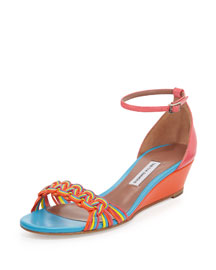Lotti Leather Demi-Wedge Pump, Multi