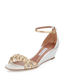 Lotti Metallic Demi-Wedge Pump, Gold/Silver