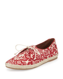 Dolly Printed Lace-Up Espadrille, Red/Ecru