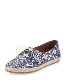 Dolly Printed Lace-Up Espadrille, Blue/Ecru