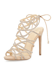 Melody Crystal-Studded Cage Sandal, Nude