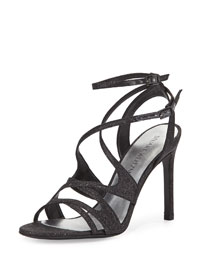 Sunsetstrip Glittered Evening Sandal, Black