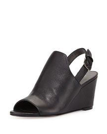 Shapely Slingback Wedge Sandal, Black