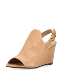 Shapely Slingback Wedge Sandal, Pecan