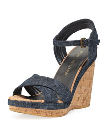 Minky Cork Wedge Sandal, Navy