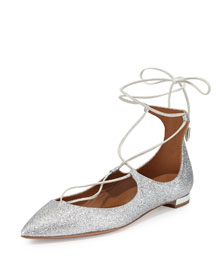 Christy Lace-Up Point-Toe Flat, Silver
