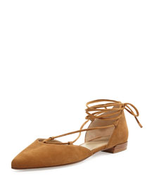 Gilligan Lace-Up d'Orsay Flat, Camel