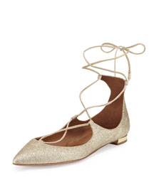 Christy Lace-Up Point-Toe Flat, Golden