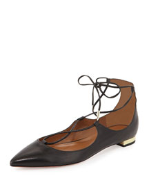 Christy Lace-Up Leather Flat, Black