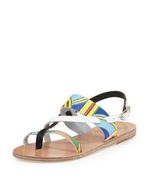 Alethea Printed Leather Flat Sandal, Multi