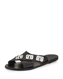 Thais Studded Crisscross Sandal, Black