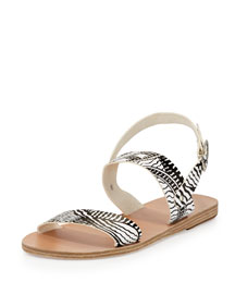 Dinami Printed Leather Flat Sandal, Black/White