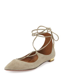 Christy Lace-Up Point-Toe Flat, Khaki Green