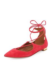 Christy Lace-Up Point-Toe Flat, Sorbet