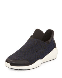 Quartz Woven Laceless Sneaker, Black/Navy