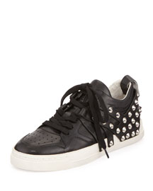 Extra Studded Lace-Up Sneaker, Black