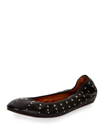 Studded Leather Ballerina Flat, Black