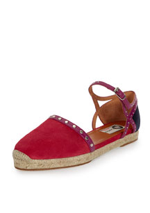 Colorblock Suede Espadrille Flat, Bright Pink