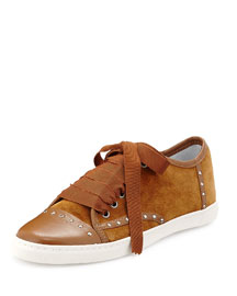 Studded Suede Low-Top Sneaker, Camel