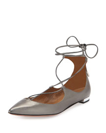Christy Lace-Up Point-Toe Flat, Anthracite