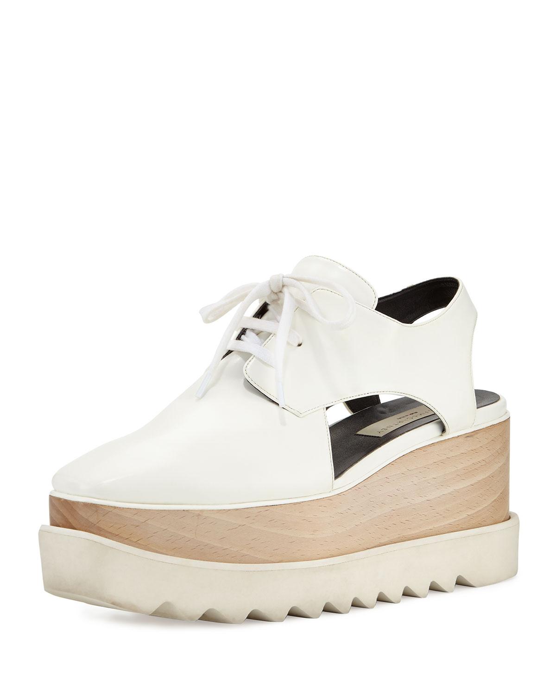 Stella McCartney Elyse Cutout Platform Oxford, White, Women's, Size: 38.5B/8.5B