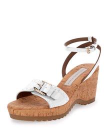 Linda Faux-Patent Cork Sandal, White