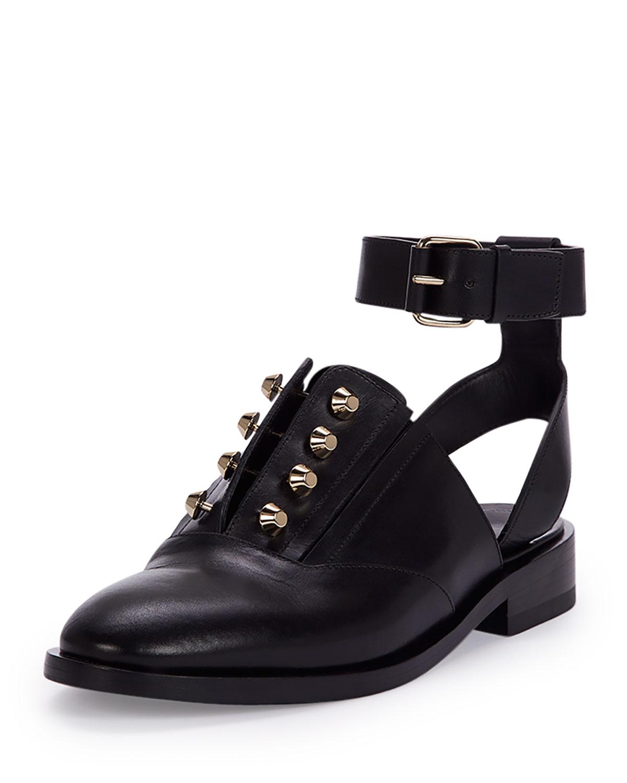 Balenciaga Studded Leather Derby Flat, Black (Noir), Women's, Size: 42.5B/12.5B