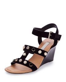Leather Gladiator Wedge Sandal