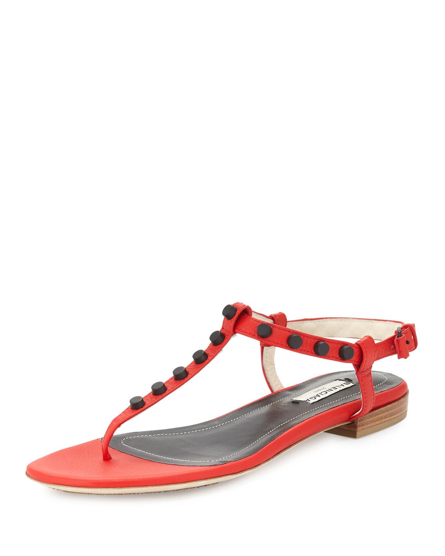 Balenciaga Studded Leather Flat Thong Sandal, Size: 40.0B/10.0B, Rouge