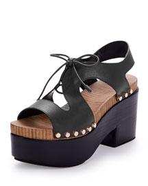 Leather Lace-Front Platform Sandal