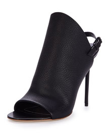 Open-Toe Leather Glove Sandal, Black (Noir)