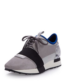 Mixed-Media Leather Sneaker, Gray/Blue